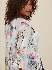 White Floral Swiss Dot Hi-Lo Kimono, FLORAL, alternate