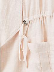Light Grey Slub Gauze Drawstring Open Front Cargo Vest , CRYSTAL GRAY, alternate