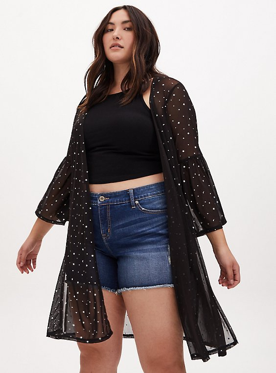 Black Mesh & Iridescent Star Bell Sleeve Longline Kimono, , hi-res