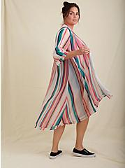Multi Stripe Chiffon Hi-Lo Kimono, STRIPES, alternate