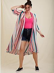 Plus Size Multi Stripe Chiffon Hi-Lo Kimono, STRIPES, hi-res