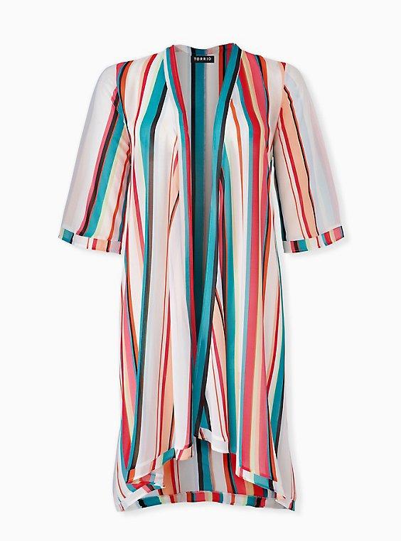 Multi Stripe Chiffon Hi-Lo Kimono, STRIPES, ls