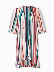 Multi Stripe Chiffon Hi-Lo Kimono, STRIPES, hi-res