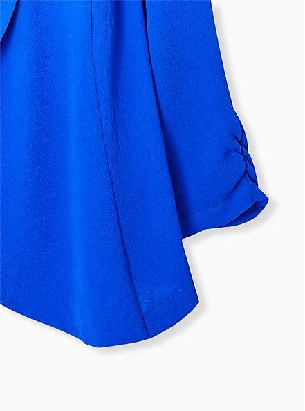 Electric Blue Open Front Crepe Blazer, ELECTRIC BLUE, alternate
