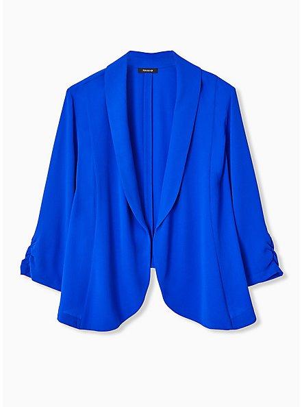 Electric Blue Open Front Crepe Blazer, ELECTRIC BLUE, hi-res