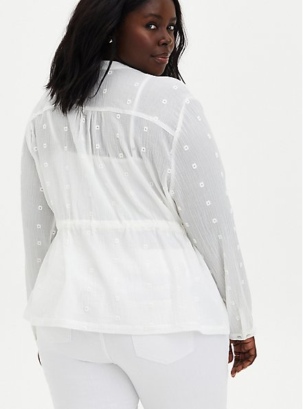 White Cotton Gauze Embroidered Jacket, CLOUD DANCER, alternate