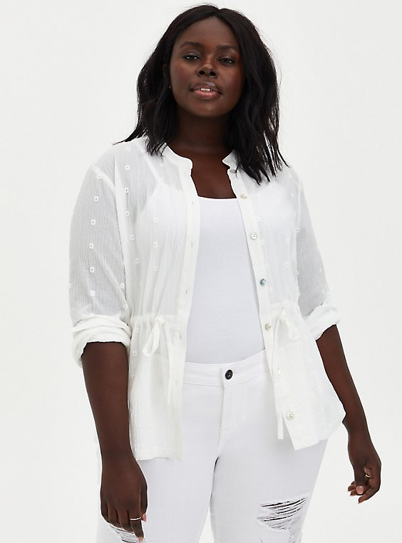 Plus Size White Cotton Gauze Embroidered Jacket, , hi-res