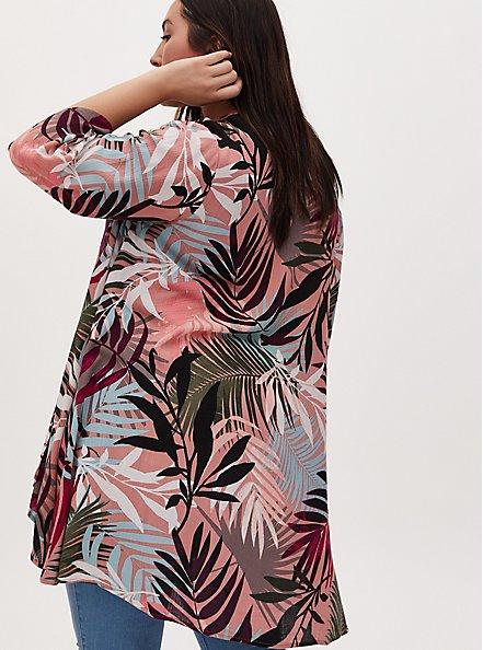 Dusty Coral & Multi Leaf Crinkle Gauze Hi-Lo Kimono, TROPICAL, alternate