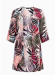 Dusty Coral & Multi Leaf Crinkle Gauze Hi-Lo Kimono, TROPICAL, hi-res