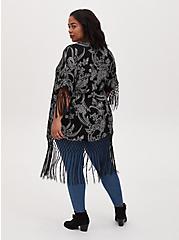Black & White Floral Crepe Fringe Kimono, FLORAL, alternate