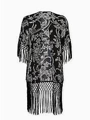 Black & White Floral Crepe Fringe Kimono, FLORAL, hi-res