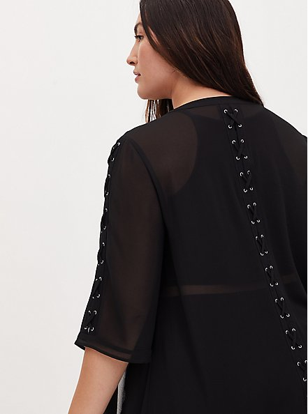 Black Chiffon Lace-Up Hi-Lo Duster Kimono, DEEP BLACK, alternate