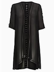 Black Chiffon Lace-Up Hi-Lo Duster Kimono, DEEP BLACK, hi-res