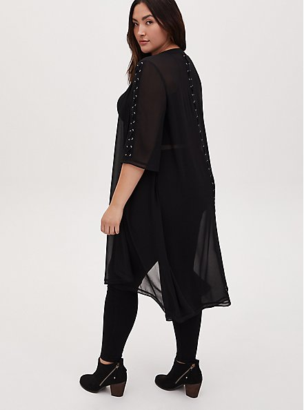 Black Chiffon Lace-Up Hi-Lo Duster Kimono, DEEP BLACK, hi-res