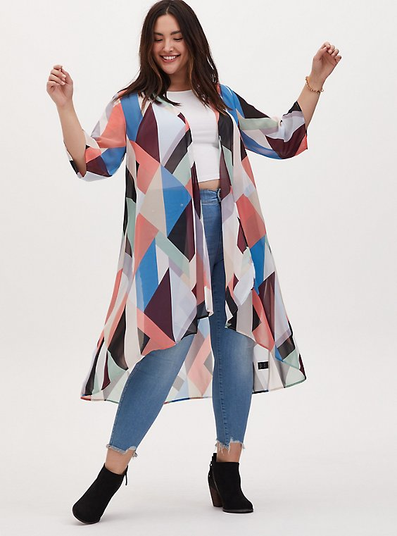 Multi Geo Chiffon Hi-Lo Duster Kimono, , hi-res