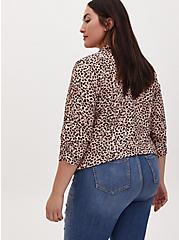 Leopard Print Crepe Open Front Blazer, ANIMAL, alternate