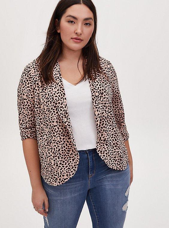 Leopard Print Crepe Open Front Blazer, , hi-res