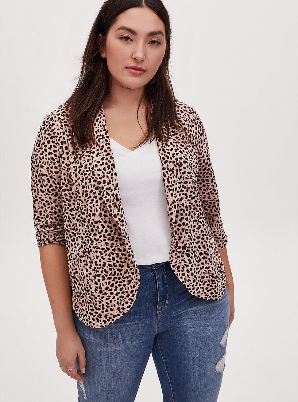 Leopard Print Crepe Open Front Blazer, ANIMAL, hi-res