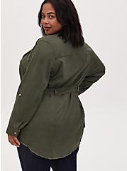 Olive Green Linen Self Tie Anorak, DEEP DEPTHS, alternate