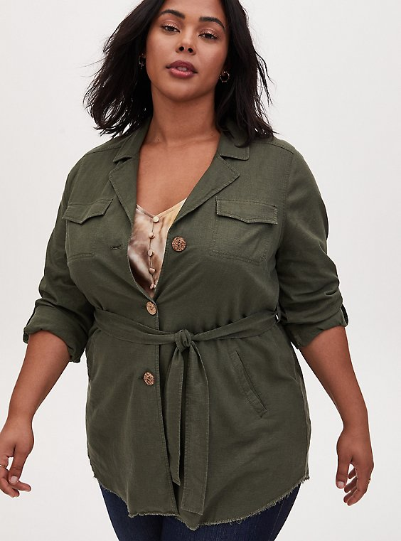 Olive Green Linen Self Tie Anorak, , hi-res