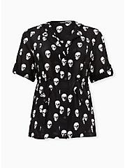 Black Skull Print Voile Short Sleeve Hooded Anorak, SKULLS ALLOVER, hi-res