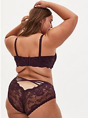 Grape Purple Lace Cage Back Hipster Panty, GRAPE SEED, alternate