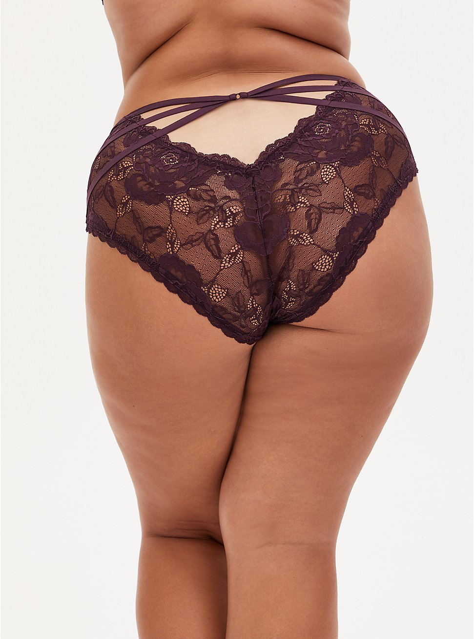 Grape Purple Lace Cage Back Hipster Panty, GRAPE SEED, hi-res