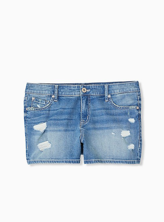 Mid Rise Short Short - Vintage Stretch Medium Wash, , hi-res
