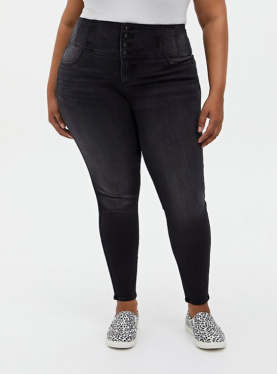 Plus Size Corset Skinny Jean - Premium Stretch Washed Black, , hi-res