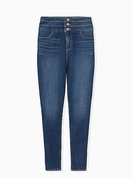 Triple Waistband Jean - Premium Stretch Medium Wash , THAMES, hi-res