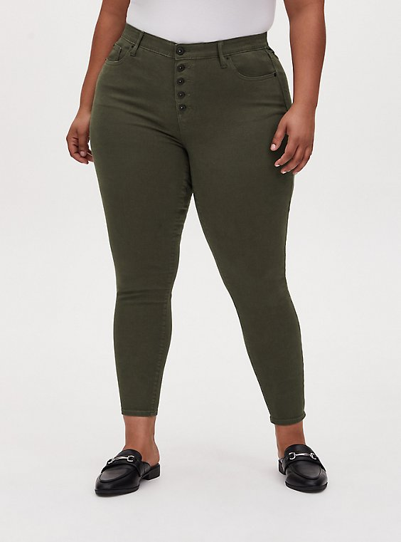 Sky High Skinny Jean - Super Soft Olive Green , DEEP DEPTHS, hi-res