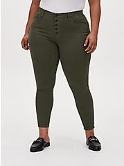 Sky High Skinny Jean - Super Soft Olive Green , DEEP DEPTHS, hi-res