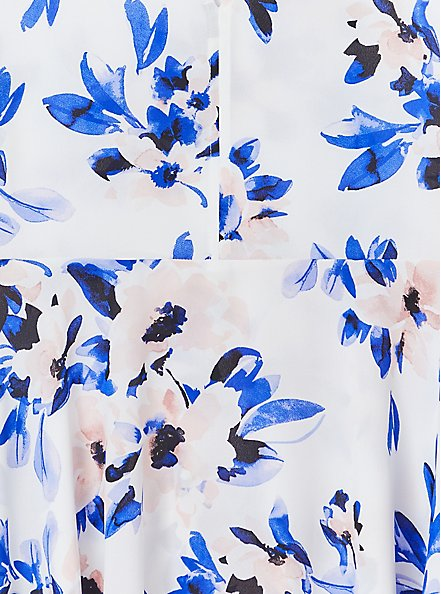 Ivory & Blue Floral Georgette Peplum Blouse , FLORAL - WHITE, alternate