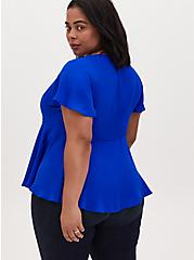 Electric Blue Georgette Peplum Blouse, ELECTRIC BLUE, alternate