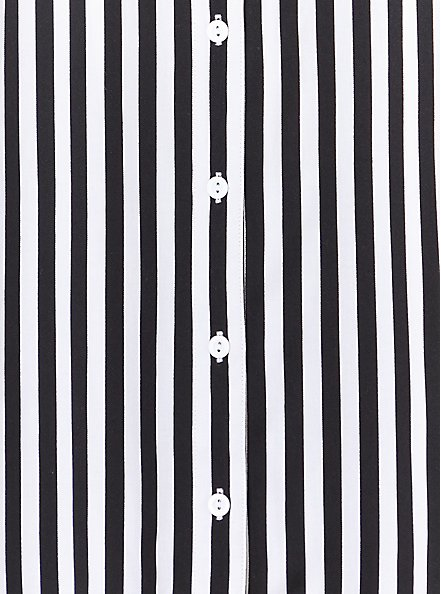 Black & White Stripe Challis Button Front Shirt, STRIPE -BLACK, alternate