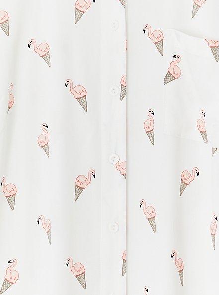 White Flamingo Cone Print Challis Button Front Shirt, FLAMINGO-WHITE, alternate