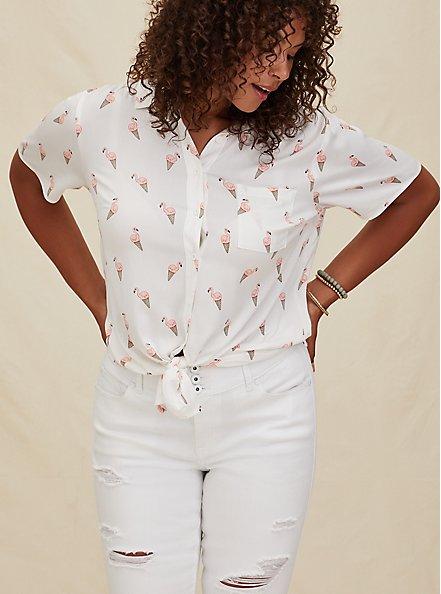 White Flamingo Cone Print Challis Button Front Shirt, FLAMINGO-WHITE, hi-res