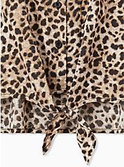Leopard Challis Tie Front Midi Dolman Blouse, , alternate