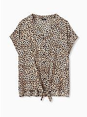 Leopard Challis Tie Front Midi Dolman Blouse, , hi-res