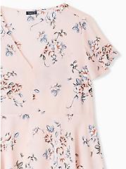 Light Pink Floral Georgette Peplum Blouse , FLORAL - PINK, alternate