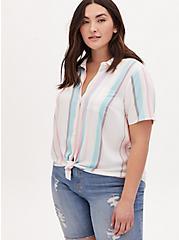 Pastel Stripe Challis Button Front Shirt, STRIPE - WHITE, hi-res