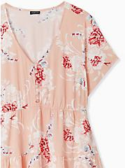 Peach Floral Stretch Woven Shirred Hem Babydoll Top, FLORAL - PINK, alternate
