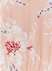 Peach Floral Stretch Woven Shirred Hem Babydoll Top, FLORAL - PINK, alternate