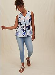 Multi Geo Georgette Peplum Tie Front Sleeveless Blouse, GEO - WHITE, alternate