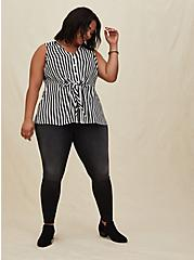 Black & White Stripe Georgette Peplum Tie Front Sleeveless Blouse, STRIPE -BLACK, alternate