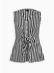 Black & White Stripe Georgette Peplum Tie Front Sleeveless Blouse, STRIPE -BLACK, hi-res