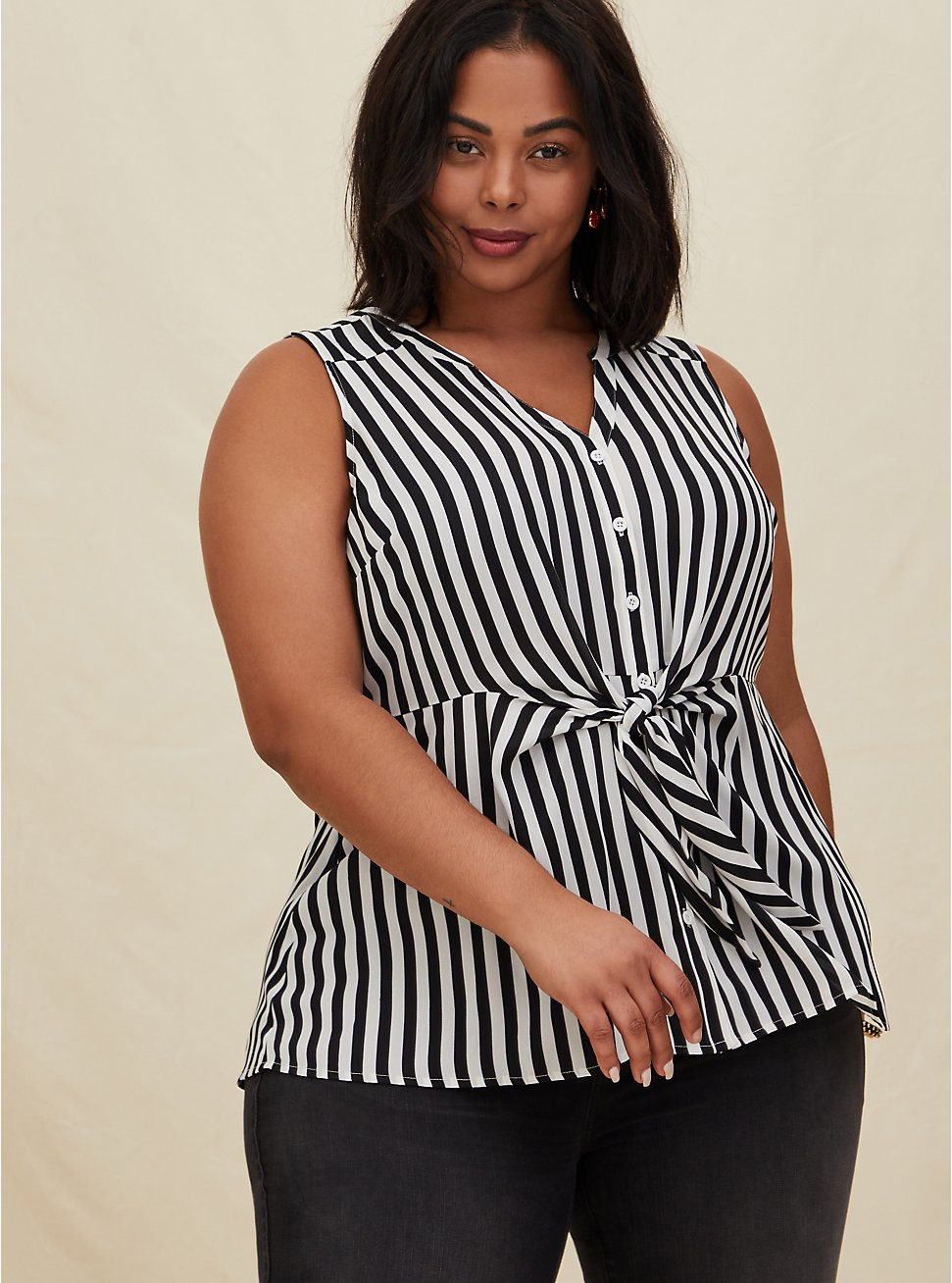 Black & White Stripe Georgette Peplum Tie Front Sleeveless Blouse, STRIPE -BLACK, hi-res