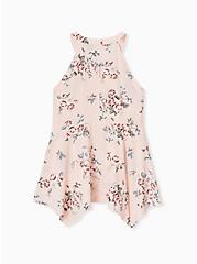 Light Pink Floral High Neck Handkerchief Tank, FLORAL - PINK, alternate