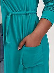 Super Soft Turquoise Drawstring Hooded Anorak , DYNASTY GREEN, alternate