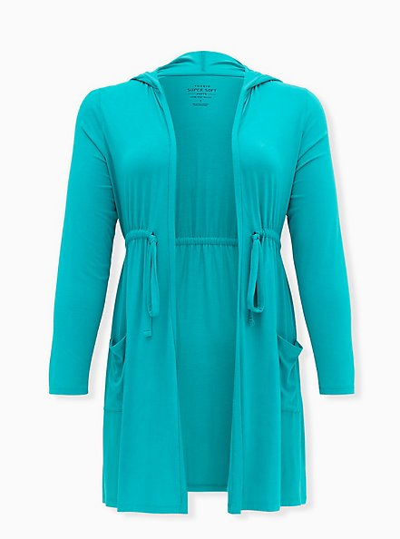 Super Soft Turquoise Drawstring Hooded Anorak , DYNASTY GREEN, hi-res